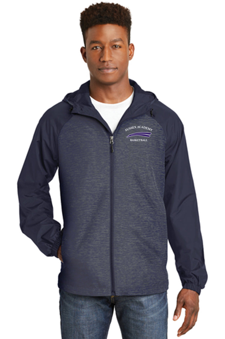 Sport-Tek® Heather Colorblock Raglan Hooded Wind Jacket (ADULT)
