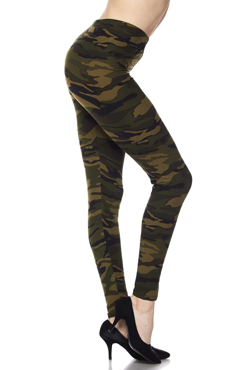 Brushed Camouflage Print Ankle Leggings REGULAR (ONE) SIZE