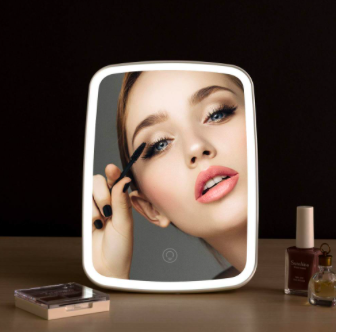 Smart LED Touch Screen Makeup Mirror Lamp White Portable Vanity Dimmable LED Mirrors with 3 Lighting Levels Micro USB Rechargeable