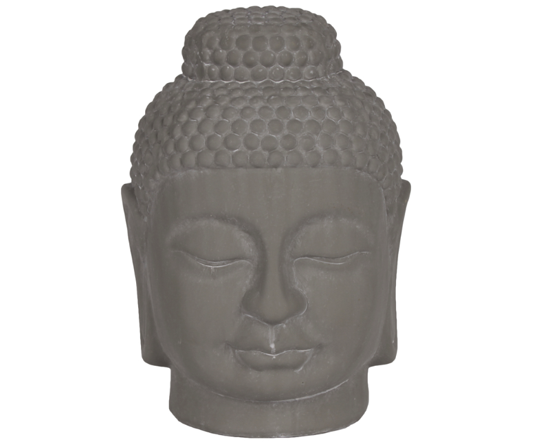 Gray Ceramic Buddha Head Statue With Rounded Ushnisha buddha face figurine