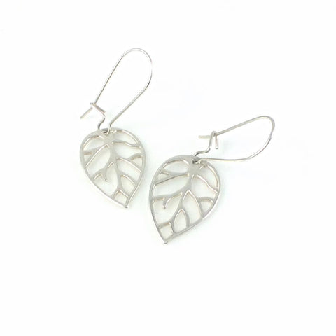 Sterling Silver Outlined Leaf Earrings