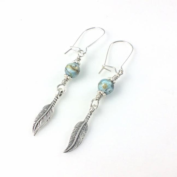 Feathers and African Blue Opal Stone Earrings