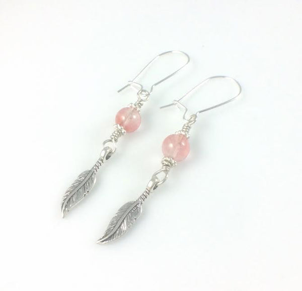 Feather and Cherry Quartz Stone Earrings