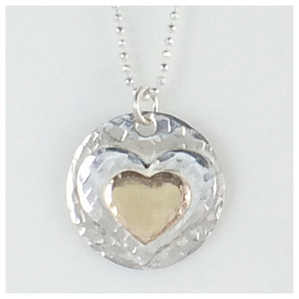 14k Gold Filled and Sterling Silver Double Heart Necklace