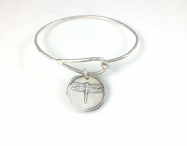 Bangle Bracelet with Fine Silver Dragonfly Charm