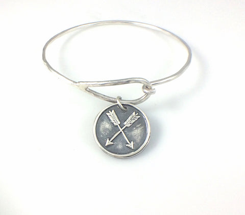 Bangle Bracelet with Fine Silver Double Arrows