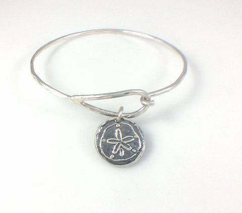 Bangle Bracelet with Fine Silver Sand Dollar Charm