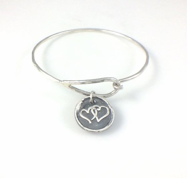 Bangle Bracelet with Fine Silver Double Hearts Charm