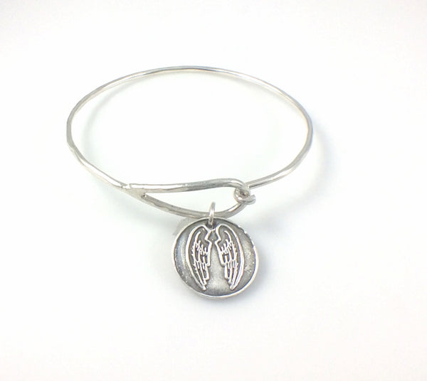 Bangle Bracelet with Fine Silver Angel Wings Charm