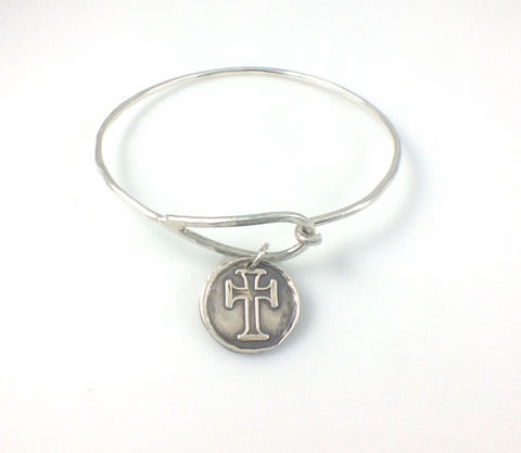 Bangle Bracelet with Fine Silver Iron Cross Charm