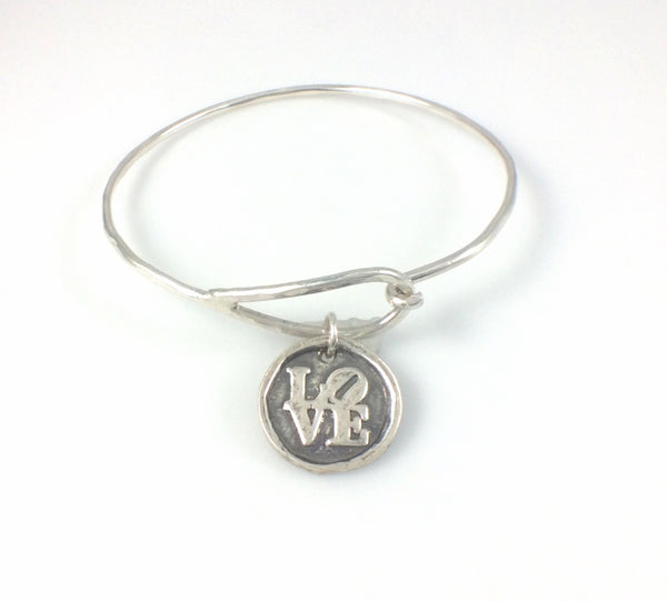 Bangle Bracelet with Fine Silver Love Charm