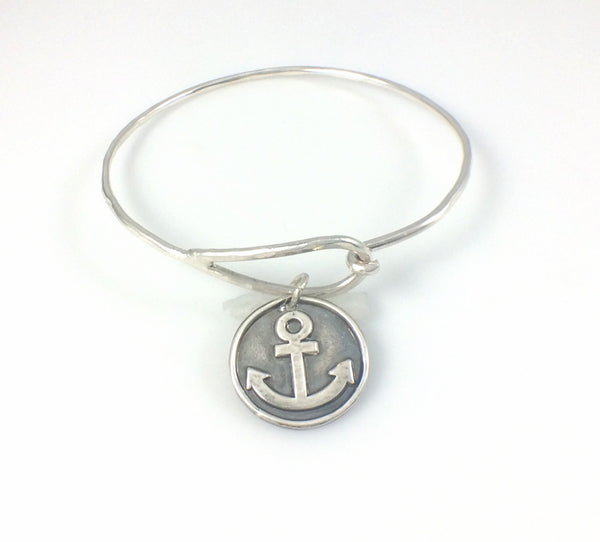 Bangle Bracelet with Fine Silver Anchor Charm