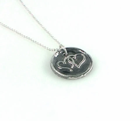 Fine Silver Double Heart Coin Necklace