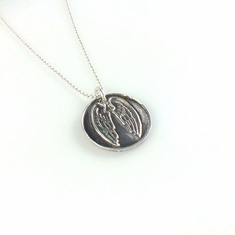 Fine Silver Angel Wings Coin Necklace