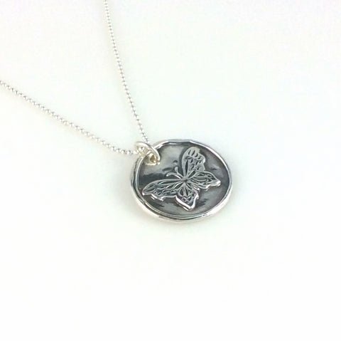 Fine Silver Butterfly Coin Necklace