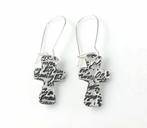 Gods Love Letter Cross Earrings