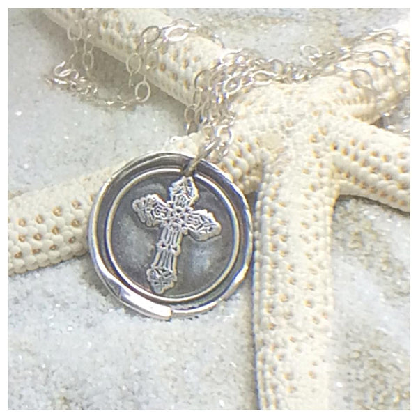 Fine Silver PMC Cross Necklace