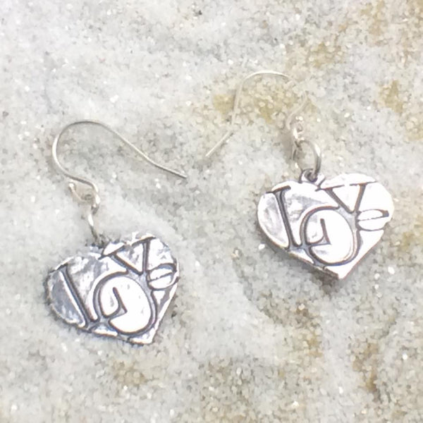 Fine Silver Heart Love Earrings