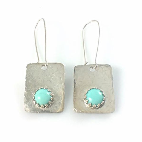 Argentium 93.5 Silver and Mexican Turquoise Earrings