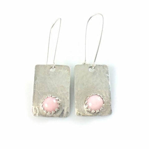 Argentium 93.5 Silver Pink Opal Earrings