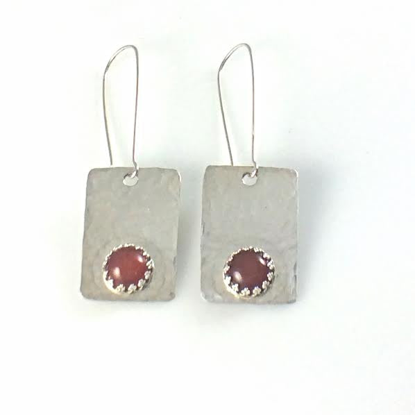 Argentium 93.5 Silver and Carnelian Stone Earrings