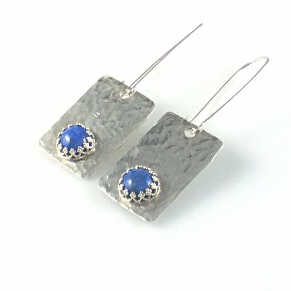 Argentium 93.5 Silver and Denim Lapis Earrings
