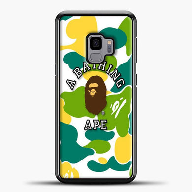 A Bathing Ape Green Yellow Samsung Galaxy S9 Case, Black Plastic Case | casedilegna.com