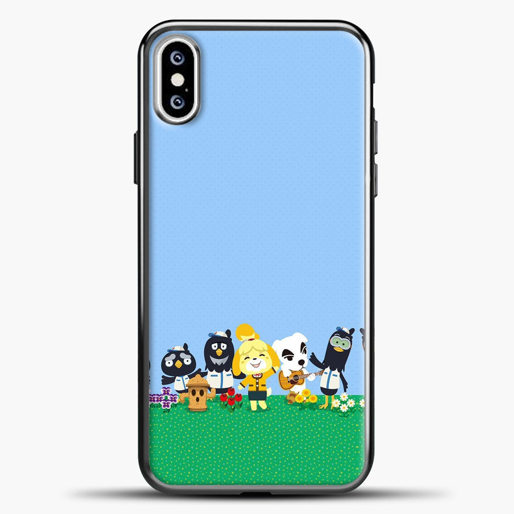 Animal Crossing Am Happy iPhone XS Case, Black Plastic Case | casedilegna.com