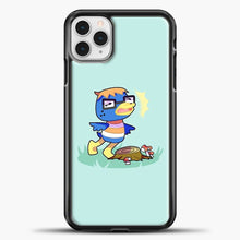 Load image into Gallery viewer, Animal Crossing Blue Background iPhone 11 Pro Case, Black Plastic Case | casedilegna.com