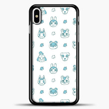 Load image into Gallery viewer, Animal Crossing Character Pattern Green iPhone X Case, Black Plastic Case | casedilegna.com