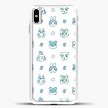 Load image into Gallery viewer, Animal Crossing Character Pattern Green iPhone X Case, White Plastic Case | casedilegna.com