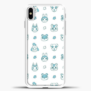 Animal Crossing Character Pattern Green iPhone X Case, White Plastic Case | casedilegna.com