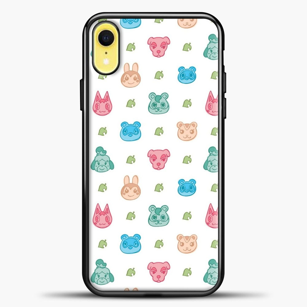 Animal Crossing Character Pattern Pastel iPhone XR Case, Black Plastic Case | casedilegna.com