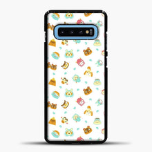 Load image into Gallery viewer, Animal Crossing Face Pattern White Samsung Galaxy S10 Case, Black Plastic Case | casedilegna.com