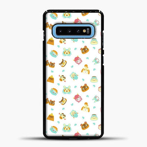 Animal Crossing Face Pattern White Samsung Galaxy S10 Case, Black Plastic Case | casedilegna.com