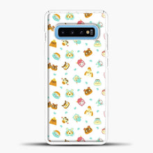 Load image into Gallery viewer, Animal Crossing Face Pattern White Samsung Galaxy S10 Case, White Plastic Case | casedilegna.com