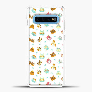 Animal Crossing Face Pattern White Samsung Galaxy S10 Case, White Plastic Case | casedilegna.com