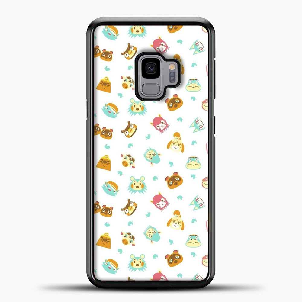 Animal Crossing Face Pattern White Samsung Galaxy S9 Case, Black Plastic Case | casedilegna.com
