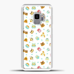 Animal Crossing Face Pattern White Samsung Galaxy S9 Case, White Plastic Case | casedilegna.com