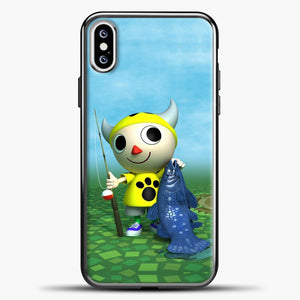 Animal Crossing Fishing iPhone XS Case, Black Plastic Case | casedilegna.com