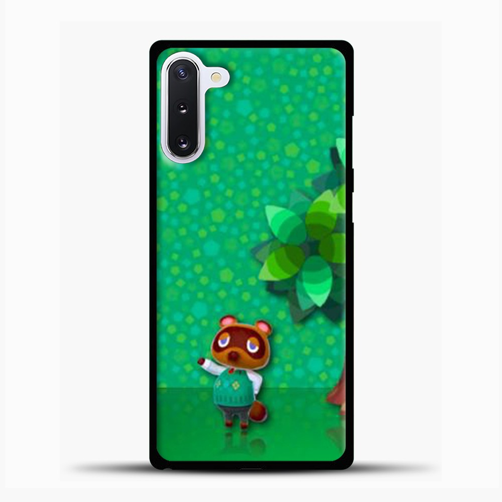 Animal Crossing Green Background Samsung Galaxy Note 10 Case, Black Plastic Case | casedilegna.com