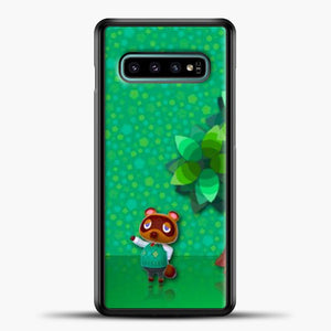 Animal Crossing Green Background Samsung Galaxy S10e Case, Black Plastic Case | casedilegna.com