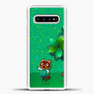 Animal Crossing Green Background Samsung Galaxy S10e Case, White Plastic Case | casedilegna.com