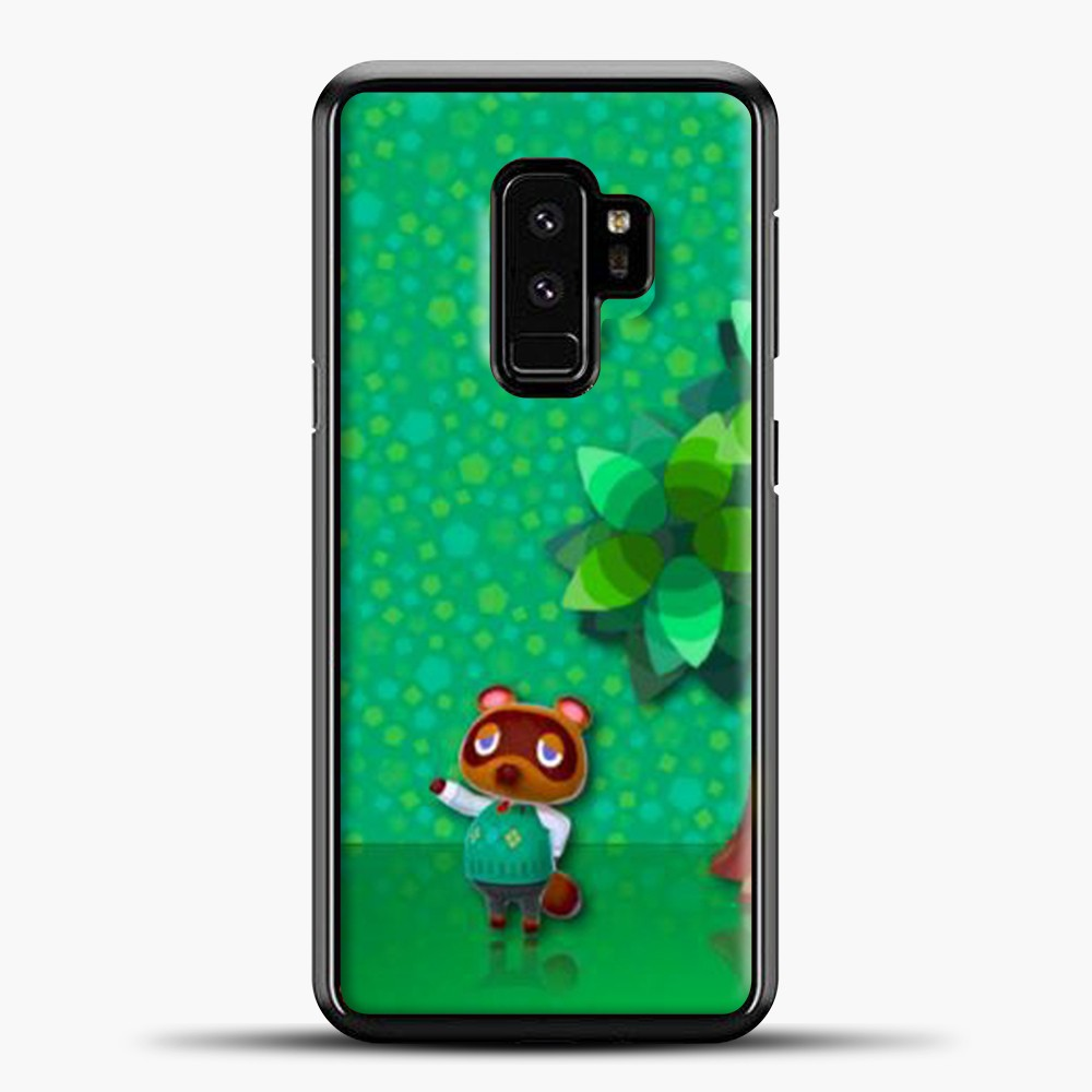 Animal Crossing Green Background Samsung Galaxy S9 Case, Black Plastic Case | casedilegna.com