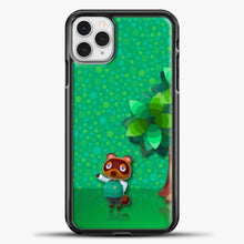 Load image into Gallery viewer, Animal Crossing Green Background iPhone 11 Pro Case, Black Plastic Case | casedilegna.com