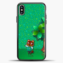 Load image into Gallery viewer, Animal Crossing Green Background iPhone XS Max Case, Black Plastic Case | casedilegna.com