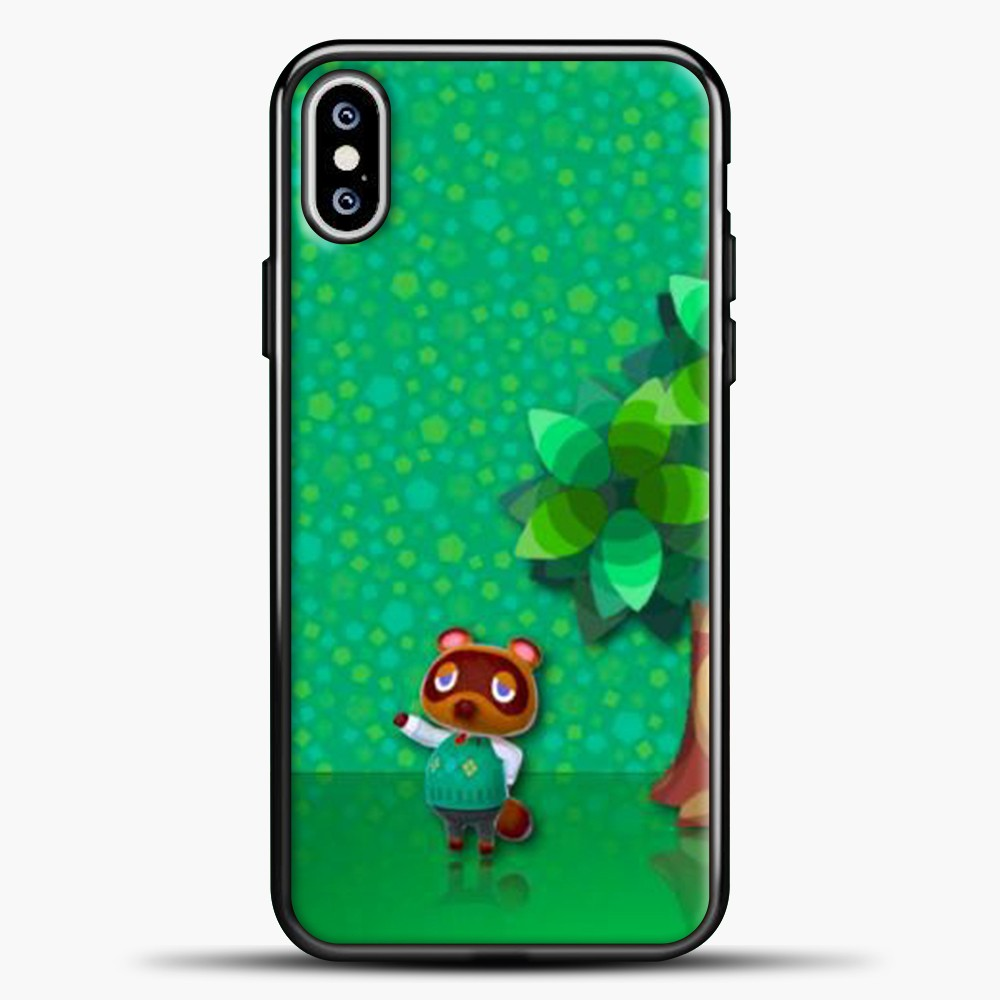 Animal Crossing Green Background iPhone XS Max Case, Black Plastic Case | casedilegna.com