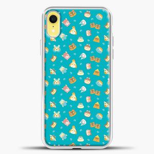 Animal Crossing Green Pattern iPhone XR Case, White Plastic Case | casedilegna.com