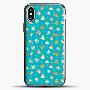 Animal Crossing Green Pattern iPhone XS Case, Black Plastic Case | casedilegna.com