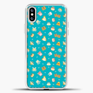 Animal Crossing Green Pattern iPhone XS Case, White Plastic Case | casedilegna.com